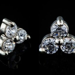 BVLA white gold trinity cartilage earring stud